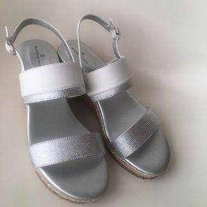 Metallic Platform Wedge Sandal Sz 9.5